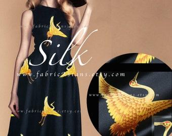Black Silk Satin Japanese Golden Crane fabric