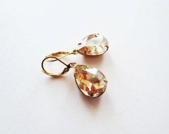 Jewel earrings. Champagne earrings.  Teardrop earrings.  Vintage earrings.  Estate earrings.  Light topaz earrings.  Leverback earrings.