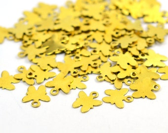 100 Pcs. Raw Brass 9x9 mm Butterfly Charms Findings