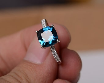 London Blue Topaz Ring Sterling Silver Ring Gemstone Jewelry Engagement Ring Promise Ring For Women November Birthstone