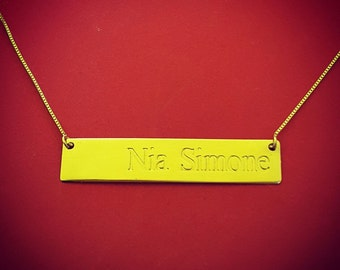 Bar Necklace Gold Bar Necklace With Name Engraved Bar Necklace Bar Necklace Custom Bar Necklace