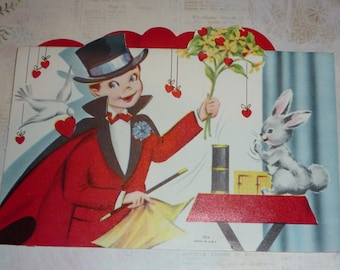 Magician and Rabbit Fold Out Vintage Valentine Card