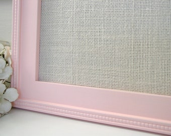 Baby Girl Nursery Pink Magnet Board - Framed Bulletin Board 14.5 x 14.5 in Rose Petal Pink Handmade Wood Frame and Ivory Burlap