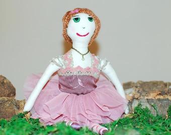 Ballerina doll, ballet dancer doll, pink tulle skirt, rag doll, art and children's decor, doll collection