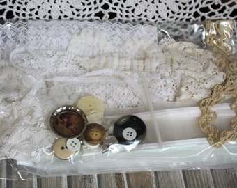 Vintage/white/beige/lace/trim/ribbon/buttons/crafts/sew. Great set for your vintage crafts needs! Beautiful lace!