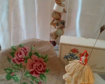Vintage needlepoint stool cover roses
