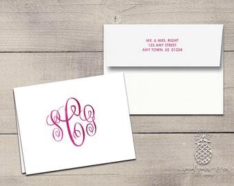 Letterpress Foil Thank You Cards & Envelopes - Classic Script Monogram - Custom Stationery Fold Over Note Cards