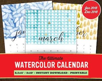 Watercolor Calendar 2018, Monthly Calendar 2018, Monthly Calendar Printable, Monthly Calendar Template, Watercolor Monthly Calendar