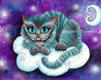 Art Print - Baby Cheshire Cat Galaxy Stars Moon Space Alice in Wonderland Fantasy Childrens Story Cloud Purple Artwork UK Astral Universe