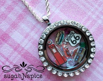 Route 66 Floating Locket - Route 66 Floating Charms - Memory Locket - Floating Locket - Route 66 Memory Locket - Route 66 Floating Locket