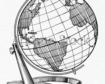 Globe Line Art - Earth Globe Printable Image Download - Scrapbook, Collages, Transfer, Craft...