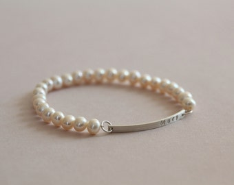 pearl bracelet, name bracelet, custom hand stamped bracelet, personalized jewelry, wedding gift - freshwater pearls 6mm