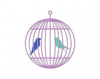 Birdcage bird cage embroidery design