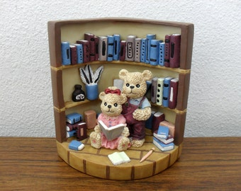 Antique Teddy Bear Single Bookend Teddy Bear In Library Figurine Collectible