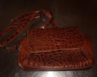 vintage handbag purse furla made italy embossed alligator leather shoulder tote