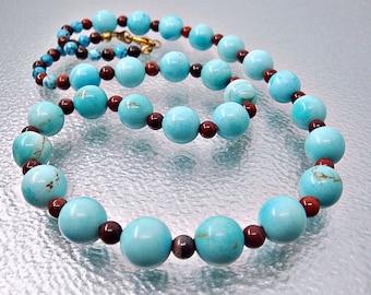 Turquoise necklace. Beaded necklace. Jasper Necklace. Turquoise jewelry. Poppy Jasper necklace.