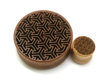 Pair of Engraved Geometric Plugs[Cherrywood / Wood Stretchers 10mm - 60mm] Price Per Pair