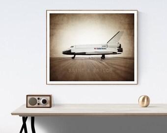 Vintage Space Shuttle One Photo Print, Boys Room decor, Vintage Space Art, Space Theme Prints,