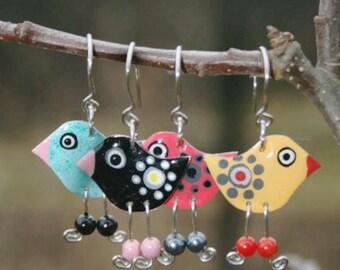 Funny Earrings, Stainless Steel Bird Earrings Whimsical Earrings Whimsical Jewelry Playful Colorful Fun Earrings, Fun Jewelry, Ice-breaker