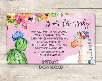 Books for Baby, Bring a Book Card, Baby Shower Activity, Baby Shower Card Insert, Llama Baby Shower, Fiesta Baby Shower, Printable No. 1046