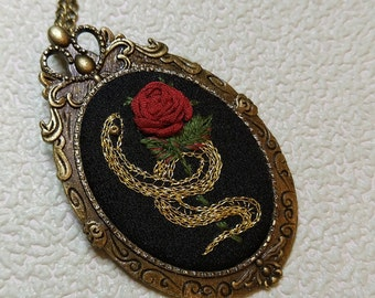 RS1 snake and rose necklace