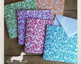 DOLLAR DEAL! Filigree. Square Note Cards (Set of 5) -- (Green, Blue, Floral, Bridal Shower, Baby Shower, Colorful, Bright, Hello, Thank You)