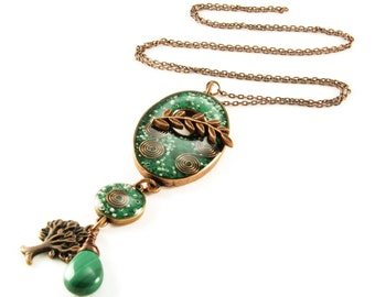 Orgone Energy Oval Toggle Charm Necklace - Malachite Gemstone - Antique Copper - Long Necklace - Artisan Jewelry
