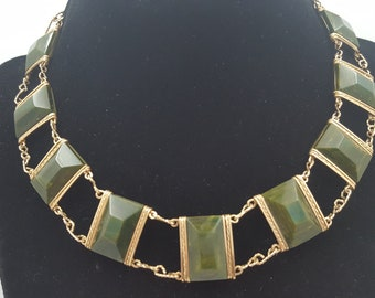 Bakelite collar necklace cream spinach in gold tone setting