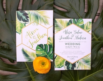 Tropical Leaf Wedding Invitations & Stationery With Palm and Monstera Leaves - SAMPLE - Watercolour Artwork and Design by Alicia's Infinity