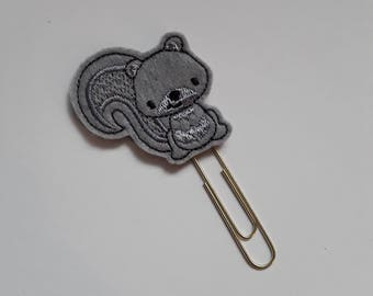 Nutty Grey Squirrel. Planner Feltie Clip.  Paperclip.  Felt Clip. Planner Gifts.  Stationery.