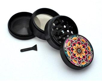Herb Grinder - Black Aluminum Alloy Mandala Style 2 Picture Grinder
