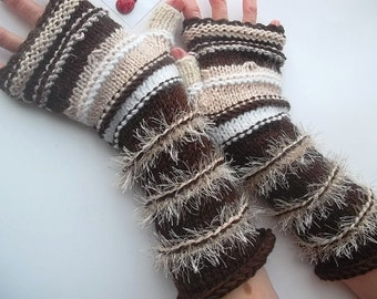 Women Size L Gloves Ready To Ship Fingerless Mittens Cabled Hand Knitted Striped Warm Accessories Brown Beige Wrist Warmers Winter Arm 830