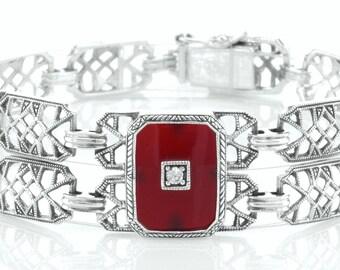 New Custom Victorian Style Sterling Filigree Red Carnelian Bracelet - Antique Style Carnelian Sterling Link Bracelet - Made To Order