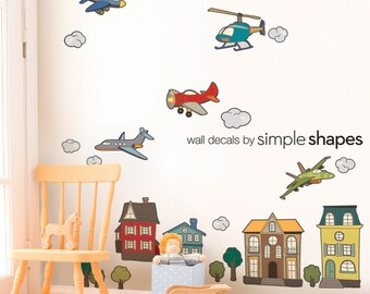 Airplanes and Helicopters - Peel and Stick Repositionable Stickers