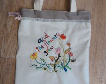 embroidered book bag