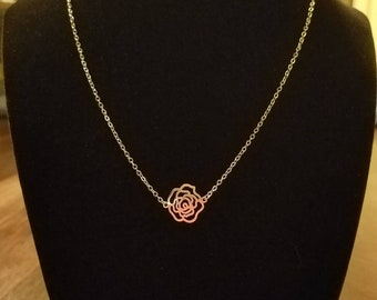 dainty silver necklace with flower charm, layering necklace