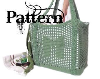 Crochet Tote Pattern - Initial Filet Crochet Bag