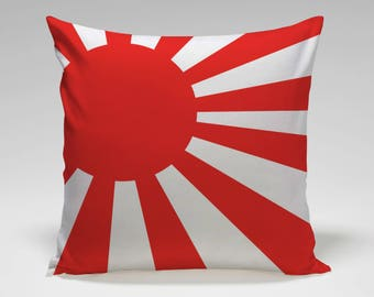 Sun Flag  | Japanese Flag | Japan Flag  | Pillow Cover and Fill Included | Pillow LA | Made in USA | 114VVWD1818W-p3b