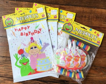 Vintage 80s 90s MUPPETS Happy Birthday Party favor bags and blowouts