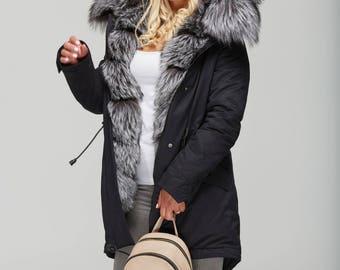 Winter Parka with Cross Fox