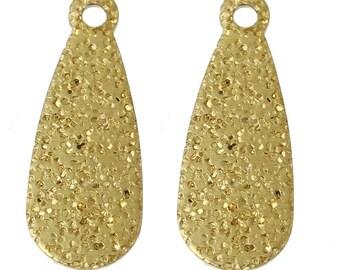 Pendant x 10 drops textured golden metal