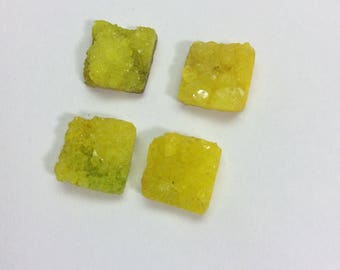 Drusy square shape gemstone 12x12mm
