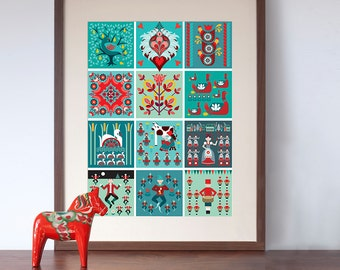 12 Days of Christmas Folk Style Art Print