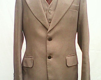 Suit Three Piece Tailored By Burlington 1970s.