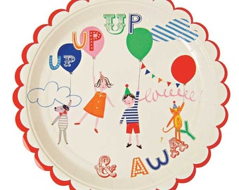 Toot Sweet Children's Plates (Set of 12), Meri Meri Paper Plates, Children's Party Plates, Kids Balloon Theme Birthday Plate