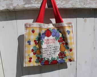 "Upcycled 1997 Calendar Tote, 15""x11"", wall calendar, 1997 calendar, kitchen prayer, grocery tote bag, library tote bag, OOAK, eco bag"
