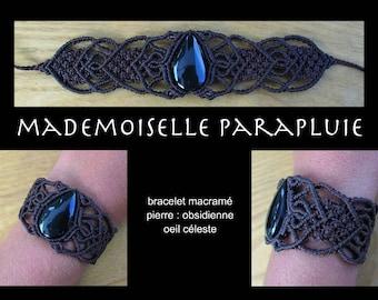 dark brown macramé Obsidian stone celestial triangle