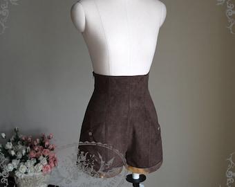Steampunk Dandy Lolita Boystyle High Waist Suedette Suit Shorts