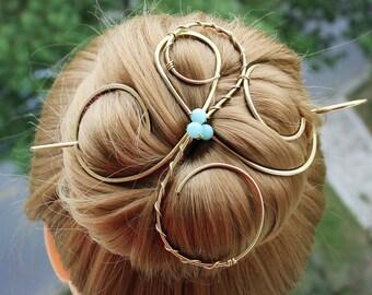 Hair Bun Holder Large Hair Clip, Thick Hair Slide Bun Pin Hair Stick, Chignon pin Bun Cover, Blue Wedding Hair Accessories, Women Gift Her