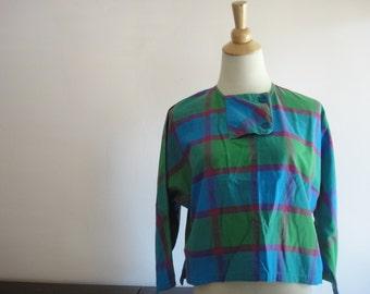 NOW ON SALE! Vintage Plaid Cropped Blouse, Santa Cruz, Blue, Green, Pink, Purple, Button Detail, Size Small